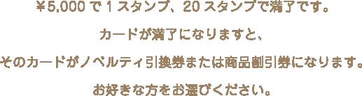 ¥5,000で1スタンプ、20スタンプで満了です。カードが満了になりますと、そのカードがノベルティ引換券または商品割引券になります。お好きな方をお選びください。